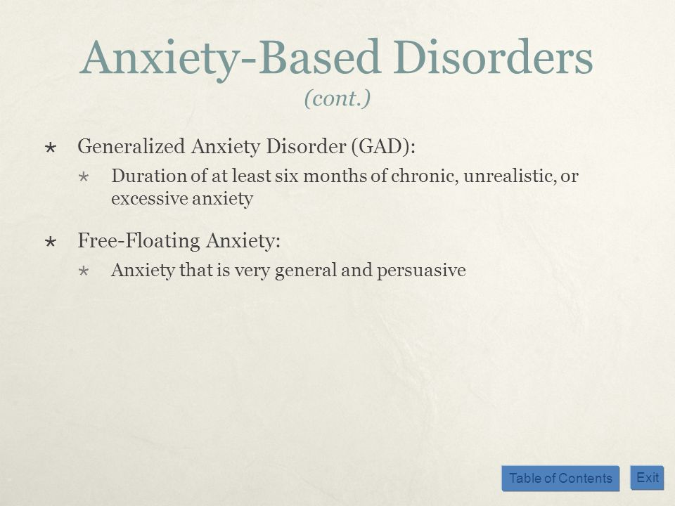 Anxiety-Based Disorders (cont.)