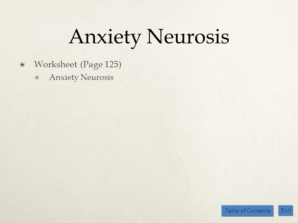 Anxiety Neurosis Worksheet (Page 125) Anxiety Neurosis