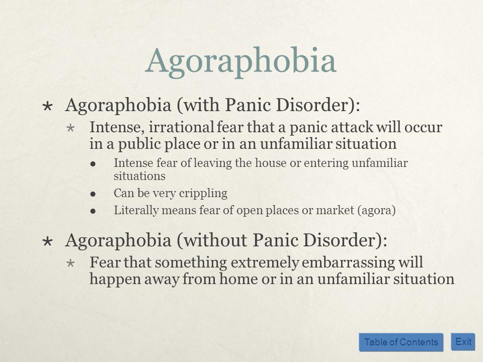 Agoraphobia Agoraphobia (with Panic Disorder):