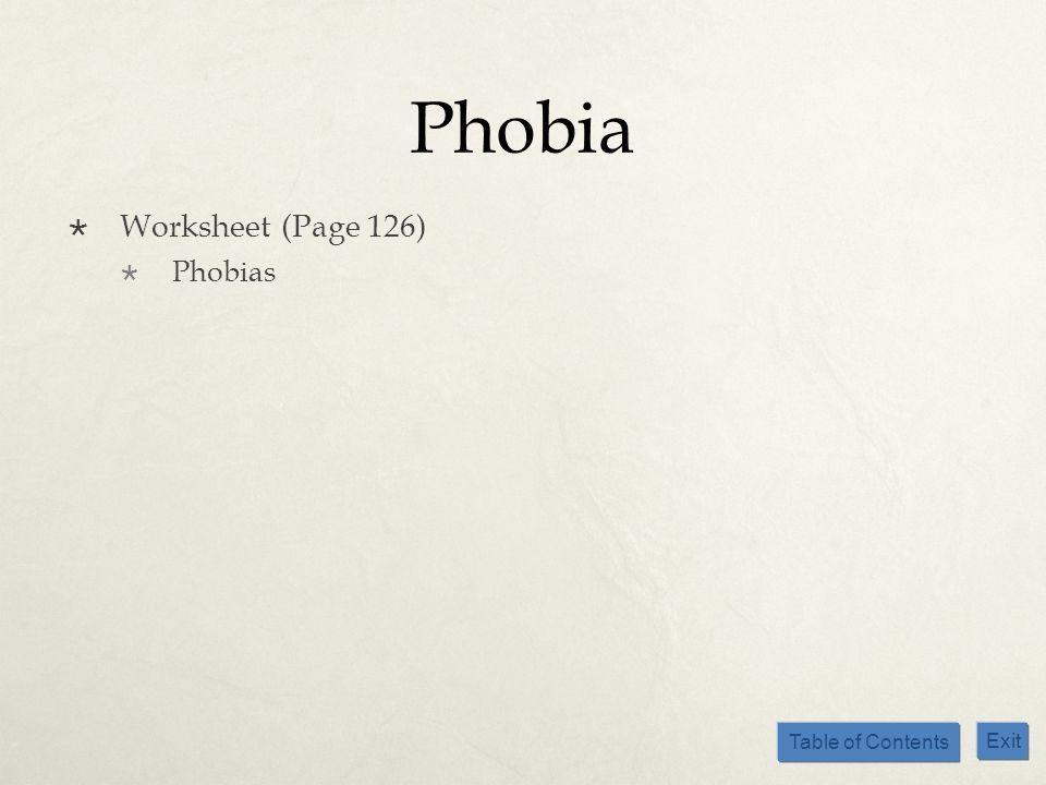 Phobia Worksheet (Page 126) Phobias