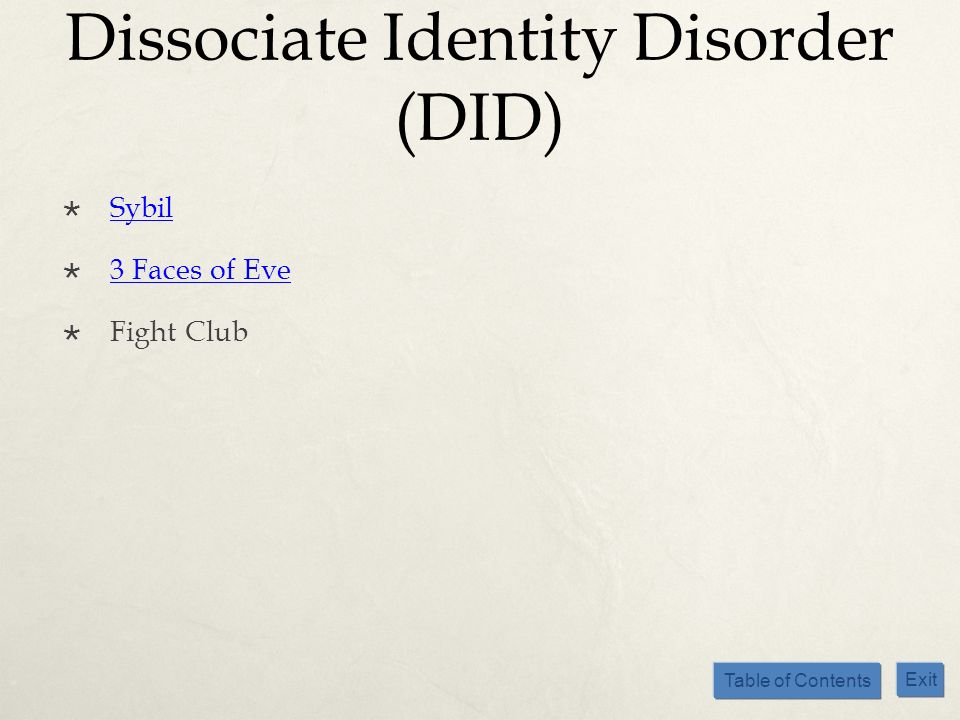 Dissociate Identity Disorder (DID)