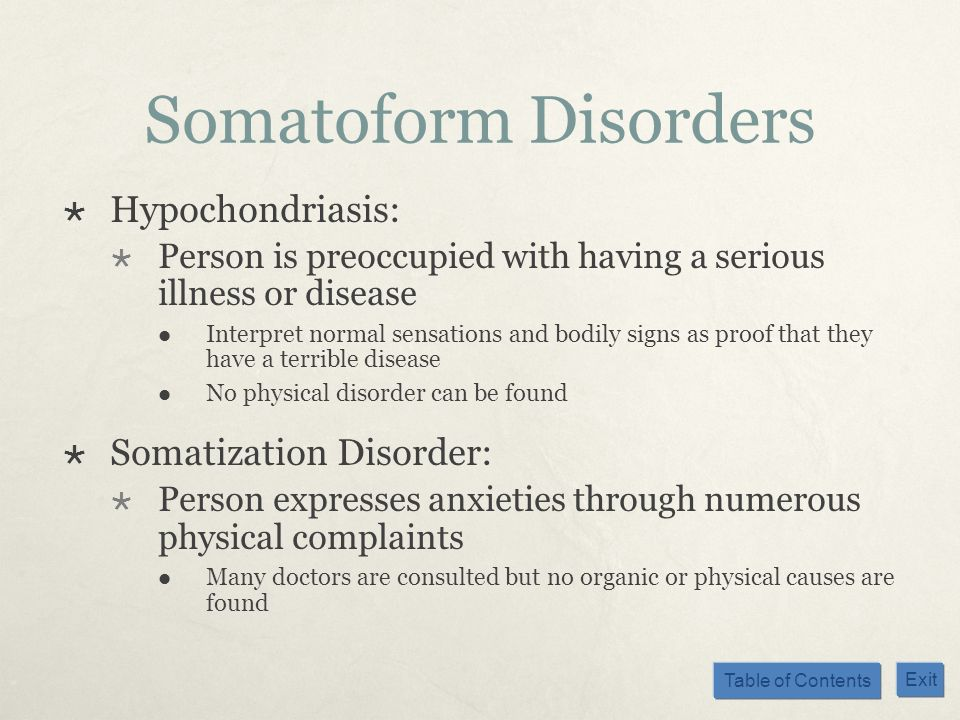 Somatoform Disorders Hypochondriasis: Somatization Disorder: