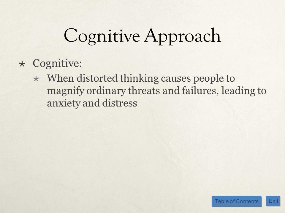 Cognitive Approach Cognitive: