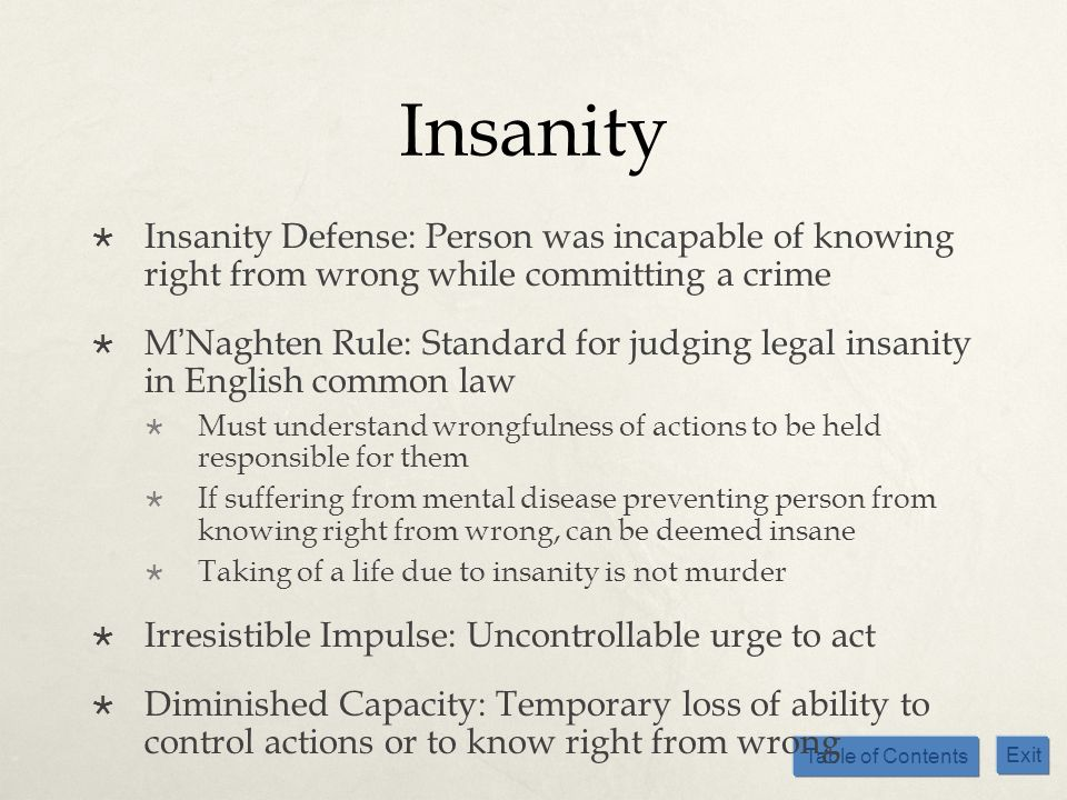 InsanityInsanity Defense: Person was incapable of knowing right from wrong while committing a crime.