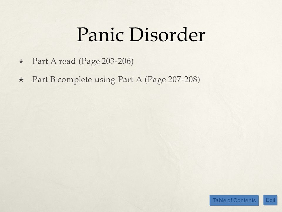 Panic Disorder Part A read (Page )