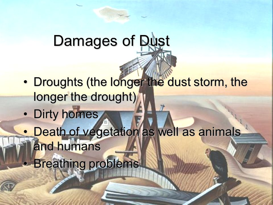 Damages of Dust Droughts (the longer the dust storm, the longer the drought) Dirty homes. Death of vegetation as well as animals and humans.