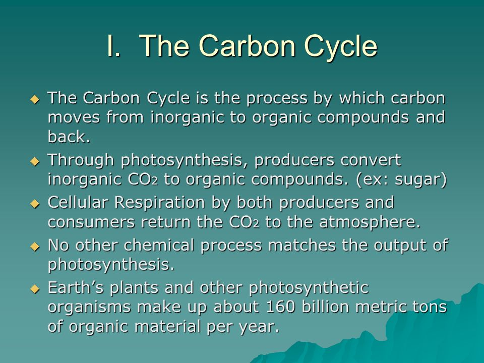 I. The Carbon Cycle The Carbon Cycle is the process by which carbon moves from inorganic to organic compounds and back.