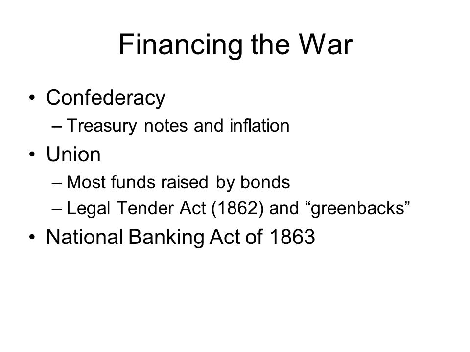 Financing the War Confederacy Union National Banking Act of 1863