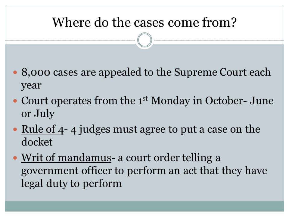 Where do the cases come from