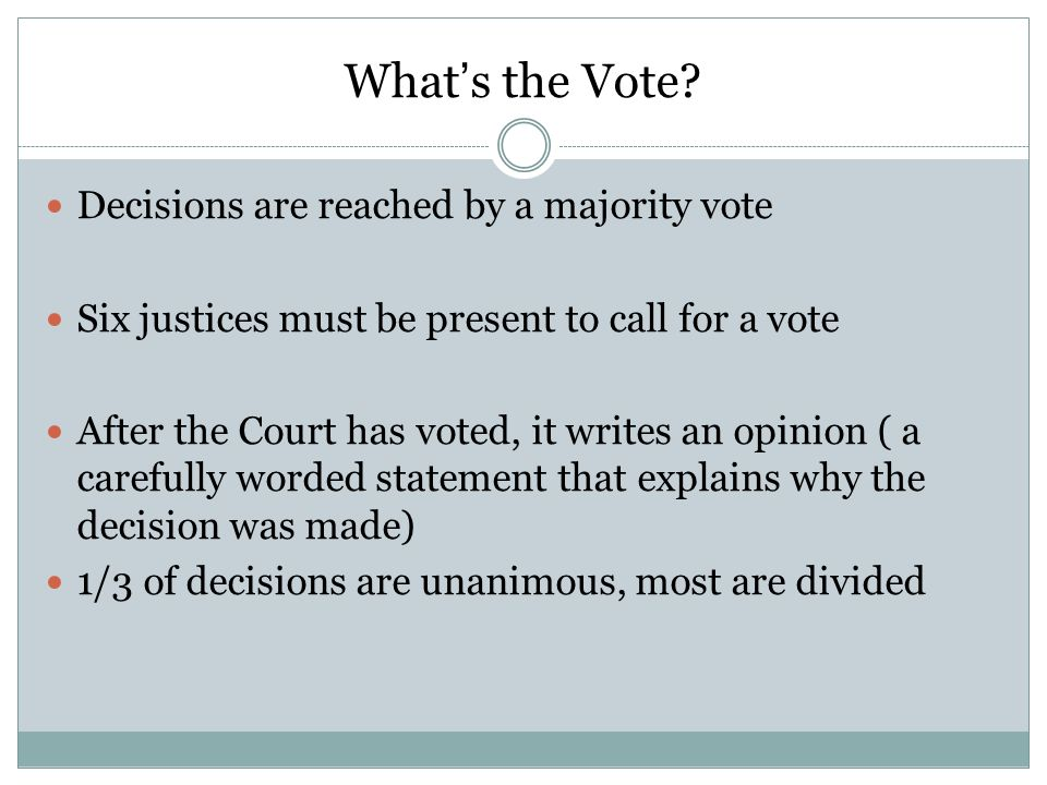 What's the Vote Decisions are reached by a majority vote