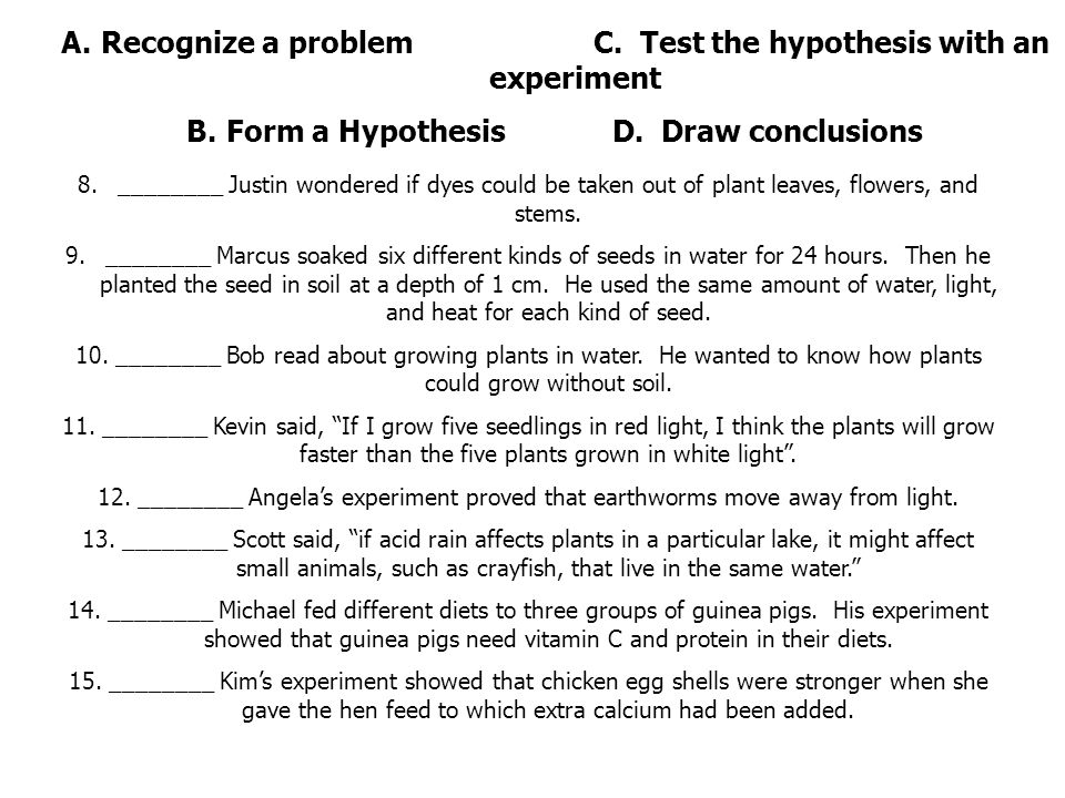 how the scientific method is used to create hypotheses and experiments It helps us approach all scientific experiments and inquiries methodically and scientifically in order to avoid jumping to conclusions or missing links in a logical chain the five steps of the scientific method include 1) defining the problem 2) making observations, 3) forming a hypothesis, 4) conducting an experiment and 5) drawing.