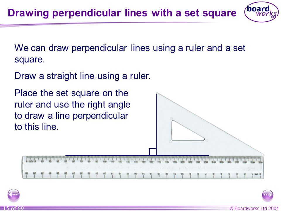 Drawing perpendicular lines with a set square