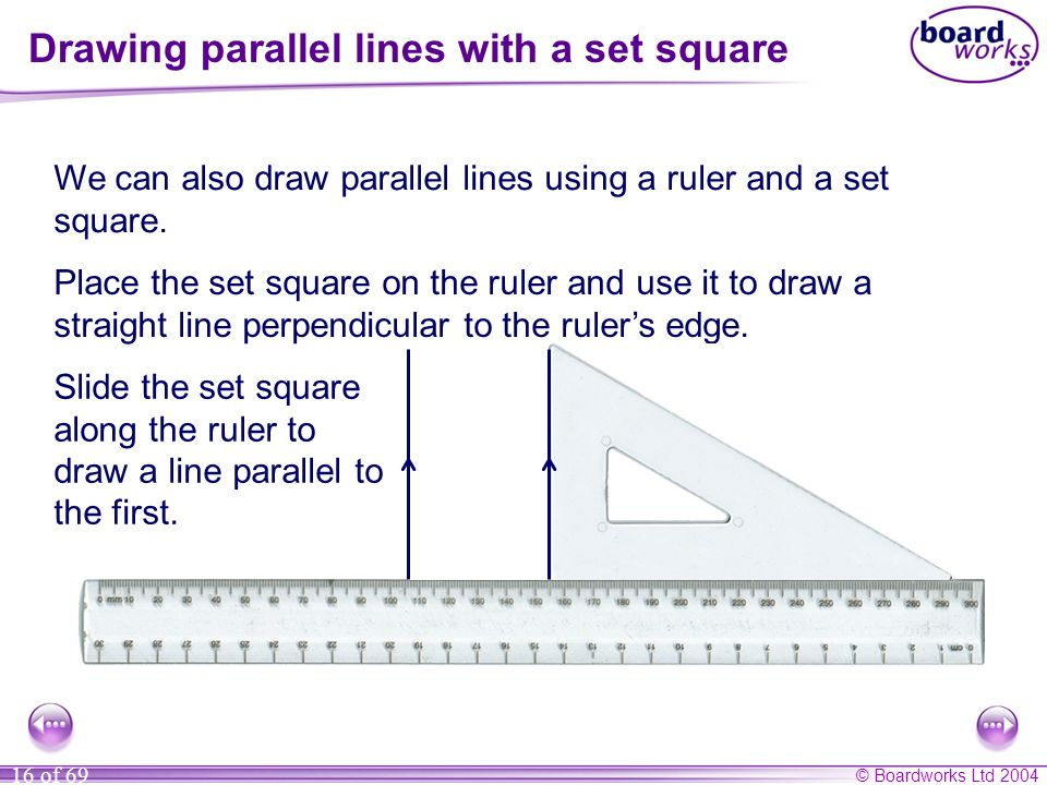 Drawing parallel lines with a set square