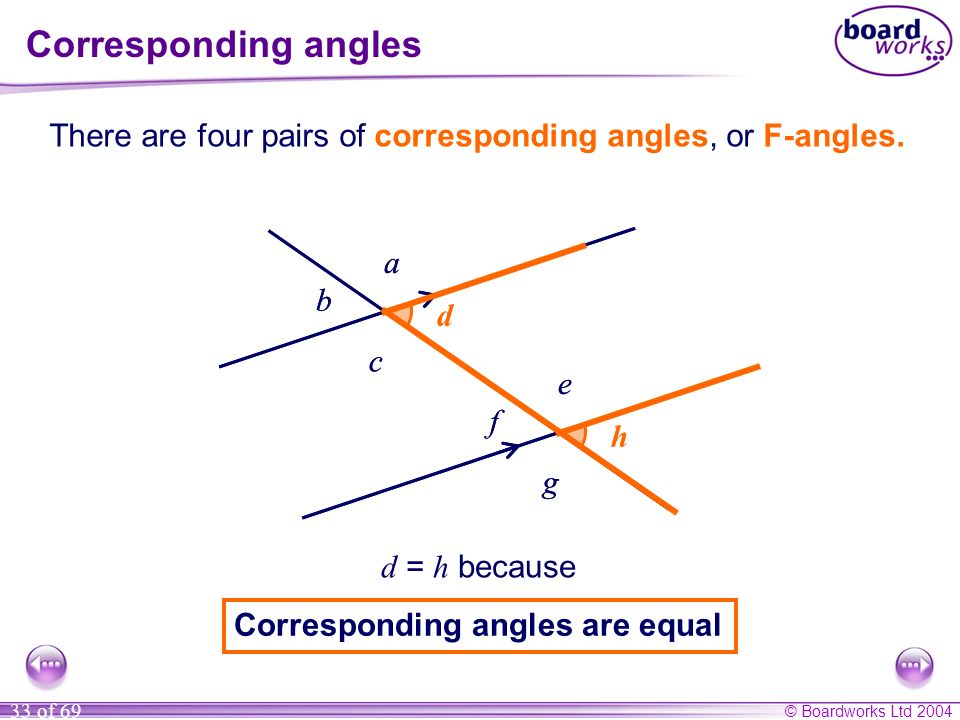 Corresponding angles There are four pairs of corresponding angles, or F-angles. a. a. b. b. d.