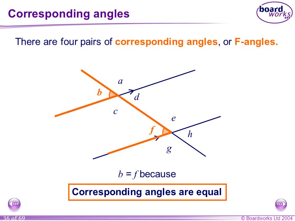 Corresponding angles There are four pairs of corresponding angles, or F-angles. a. b. b. d. c.