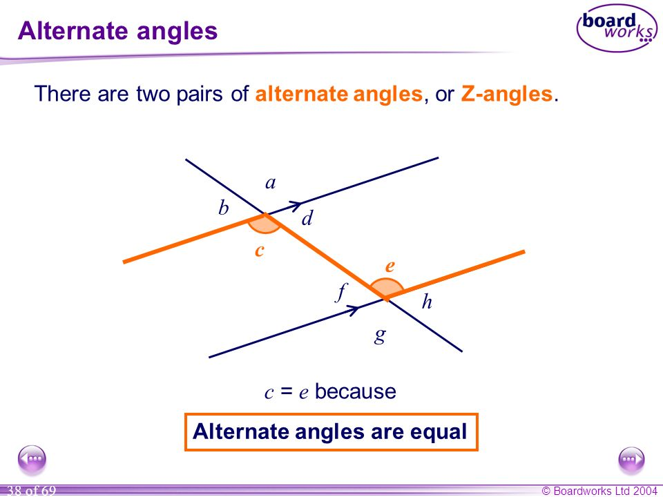Alternate angles There are two pairs of alternate angles, or Z-angles.
