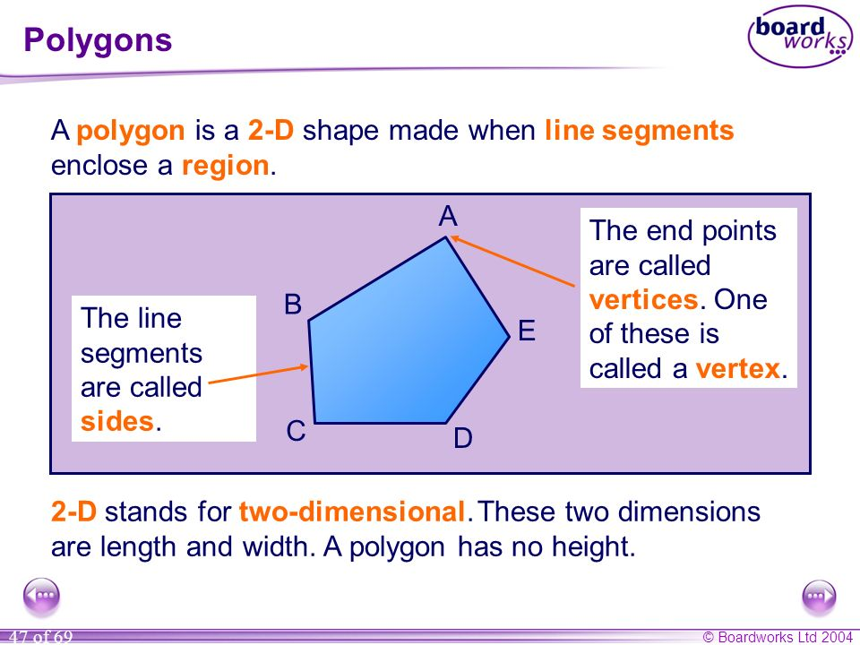 Polygons A polygon is a 2-D shape made when line segments enclose a region. A. The end points are called vertices. One of these is called a vertex.