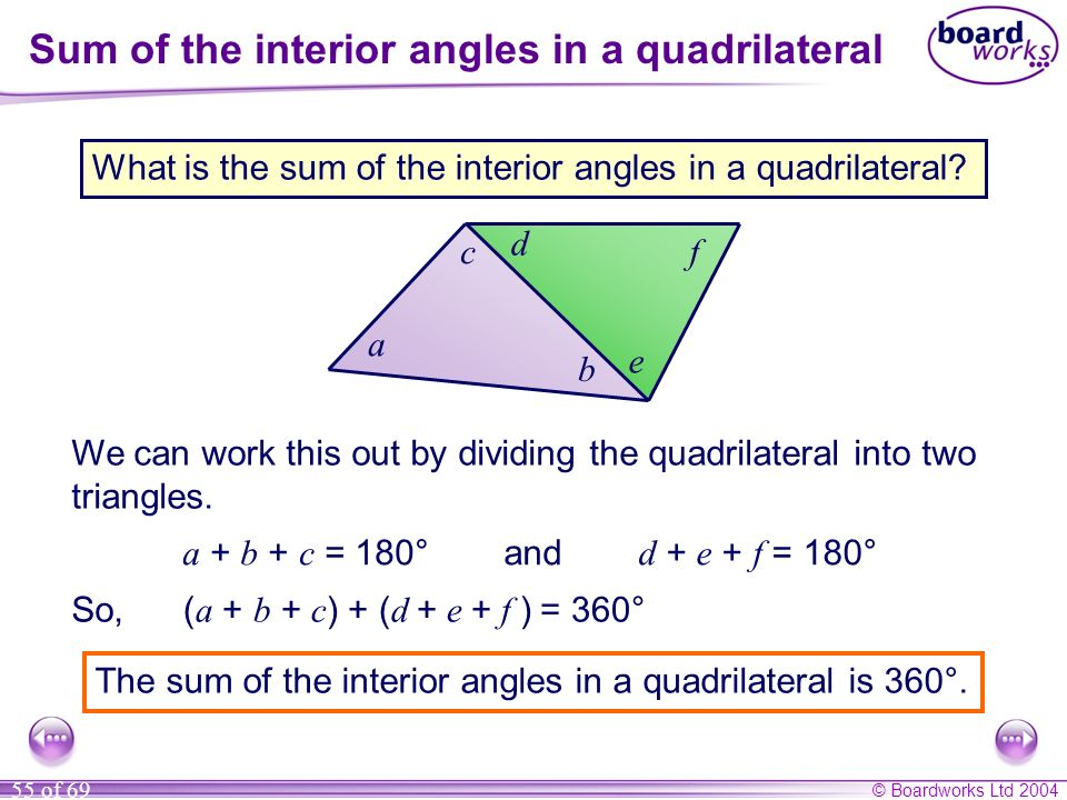 Sum of the interior angles in a quadrilateral
