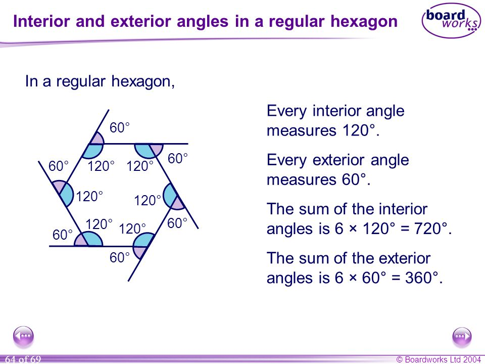 Interior and exterior angles in a regular hexagon