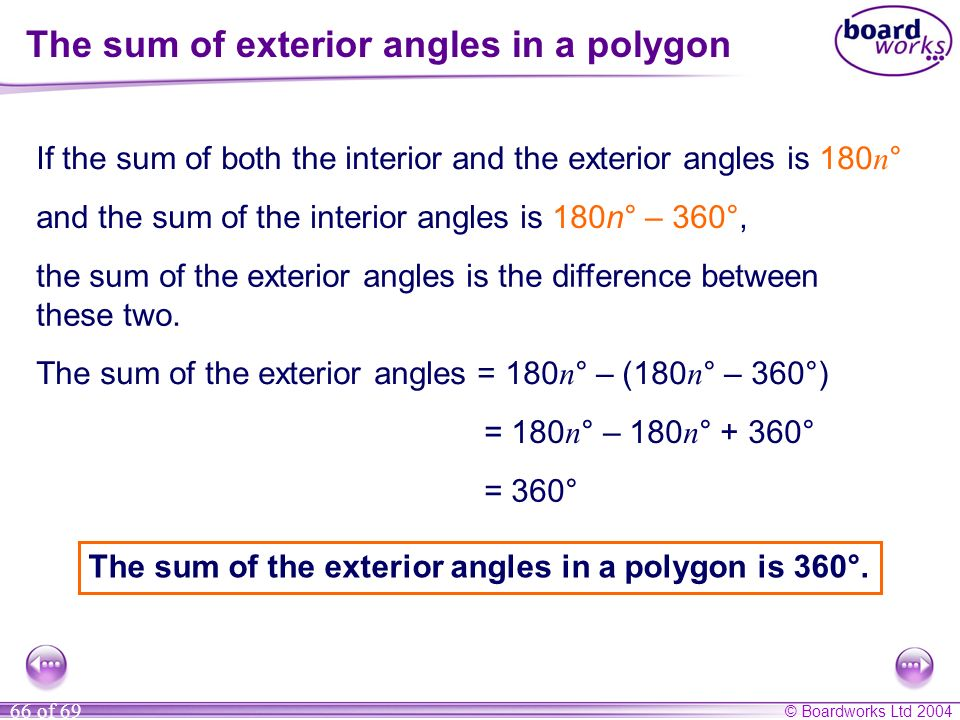 The sum of exterior angles in a polygon