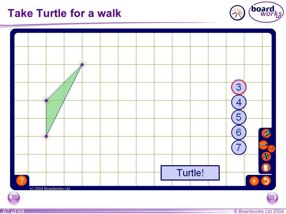 Take Turtle for a walk Use this activity to demonstrate that the sum of the exterior angles in a convex polygon is always 360º.