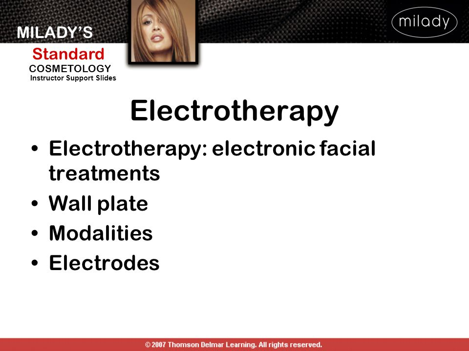 Electrotherapy Electrotherapy: electronic facial treatments Wall plate