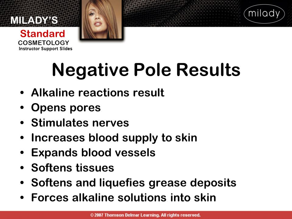 Negative Pole Results Alkaline reactions result Opens pores