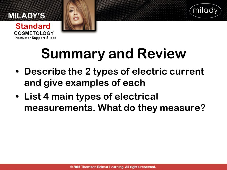 Summary and Review Describe the 2 types of electric current and give examples of each.