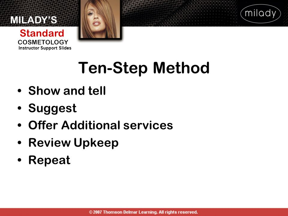 Ten-Step Method Show and tell Suggest Offer Additional services