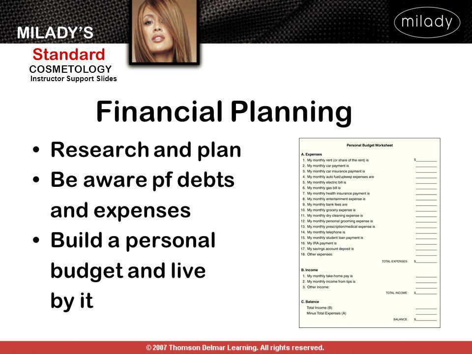 Financial Planning Research and plan Be aware pf debts and expenses