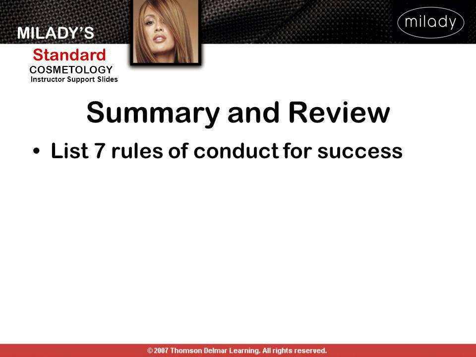 Summary and Review List 7 rules of conduct for success