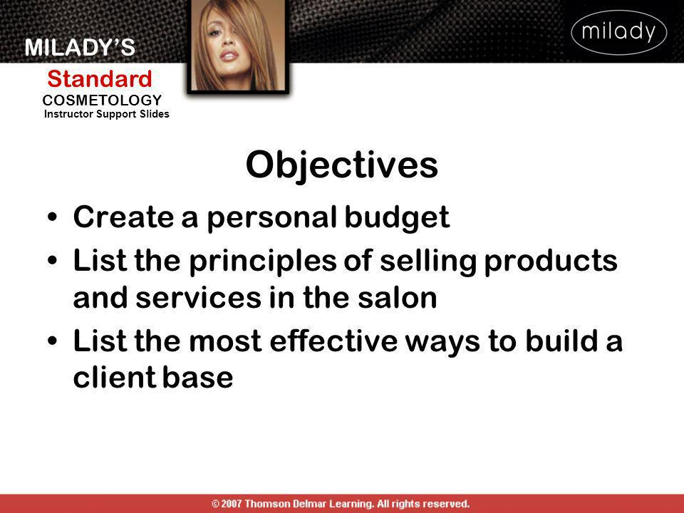 Objectives Create a personal budget