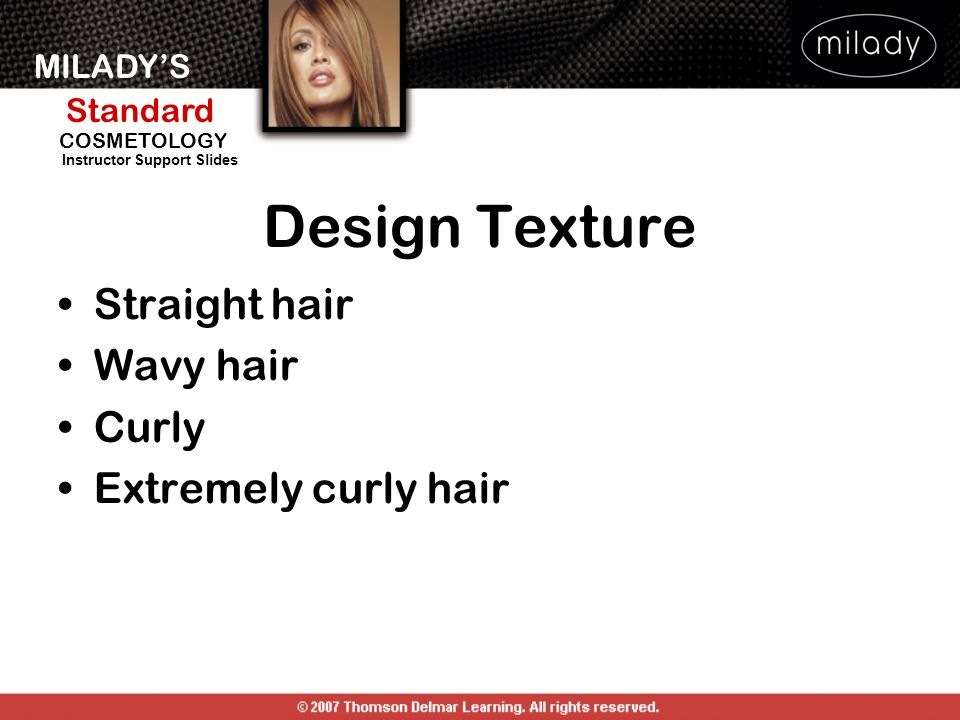 Design Texture Straight hair Wavy hair Curly Extremely curly hair
