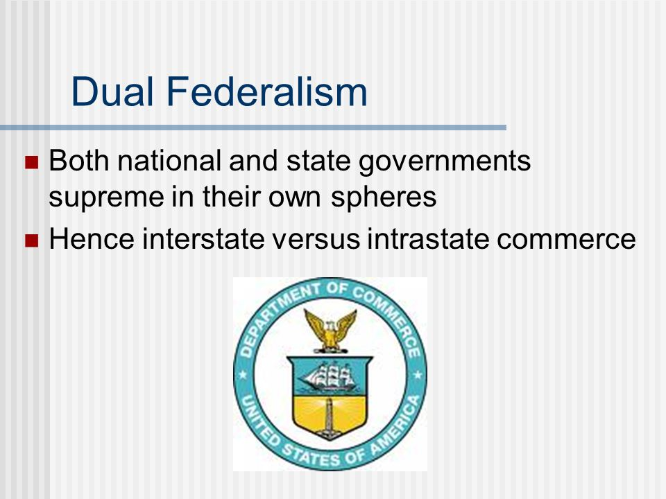 Dual Federalism Both national and state governments supreme in their own spheres.
