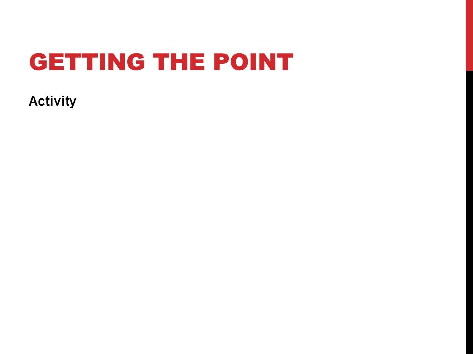 Getting the point Activity