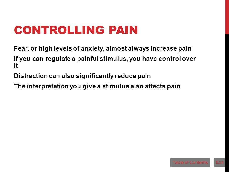 Controlling Pain