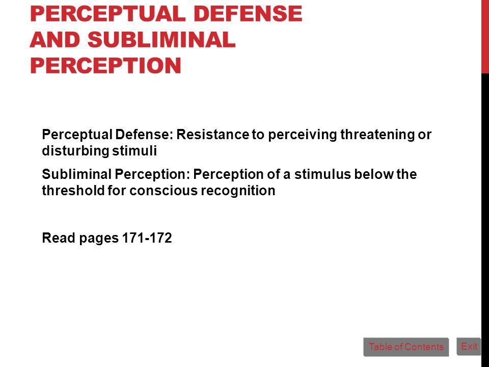 Perceptual Defense and Subliminal Perception