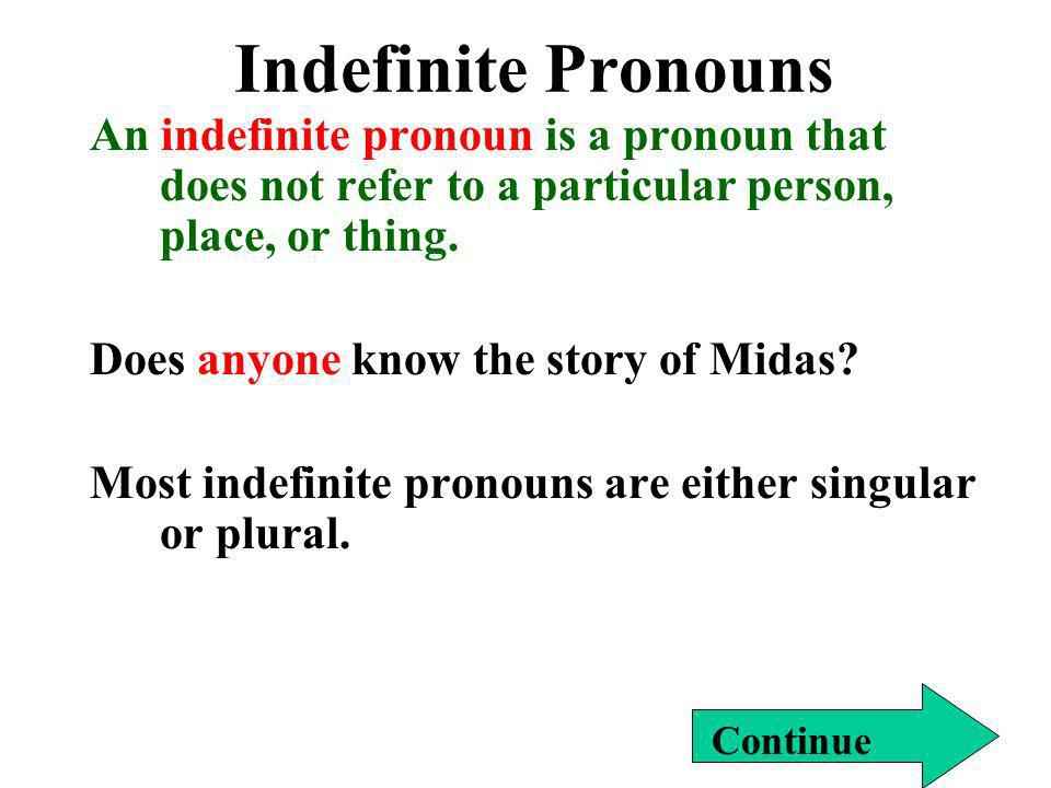 Indefinite Pronouns An indefinite pronoun is a pronoun that does not refer to a particular person, place, or thing.