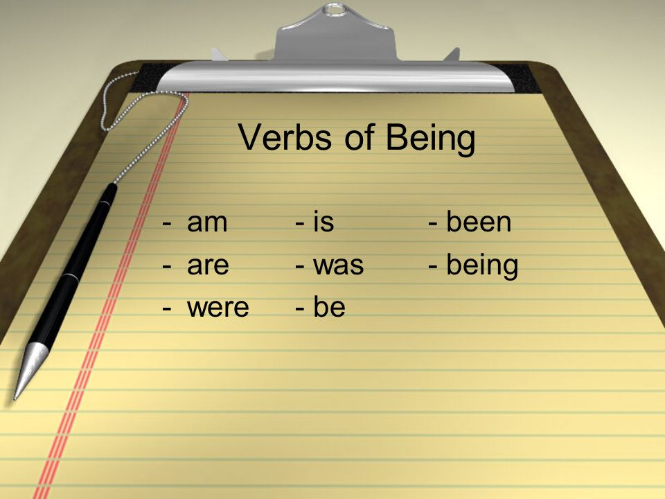 Verbs of Being am - is - been are - was - being were - be