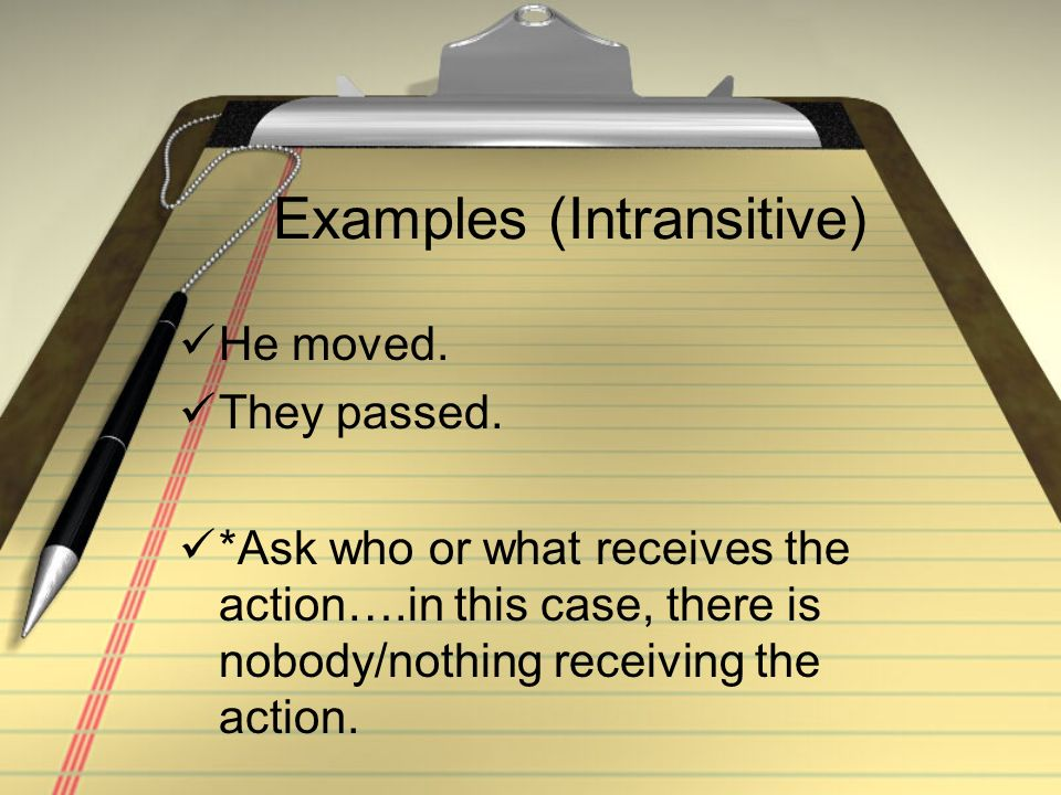 Examples (Intransitive)