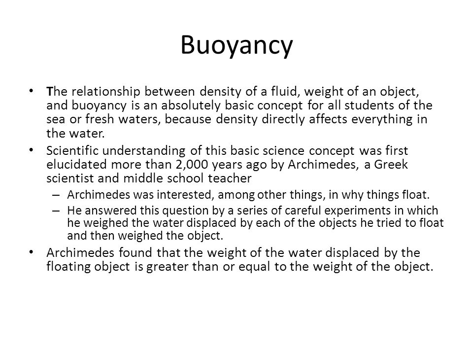 relationship of density and buoyancy