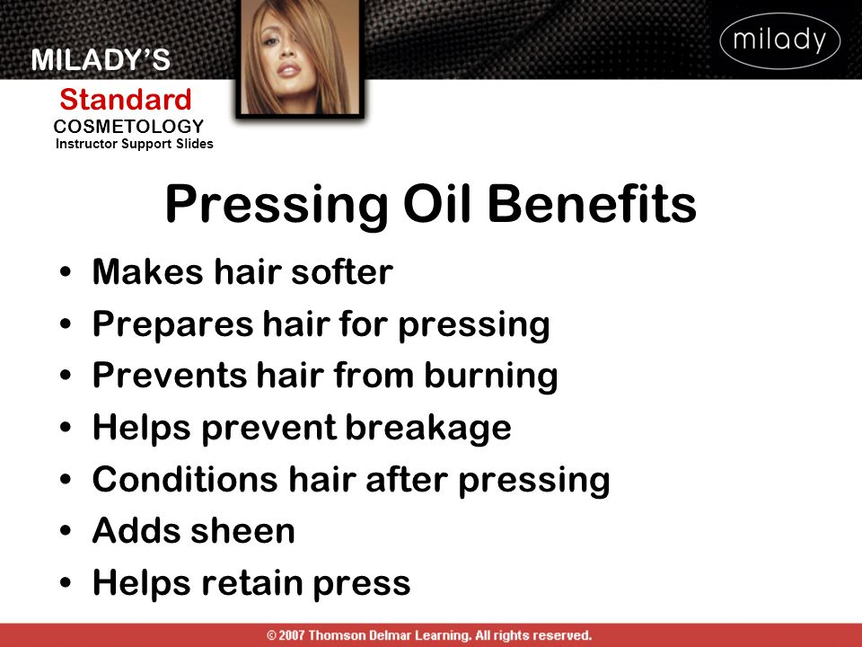 Pressing Oil Benefits Makes hair softer Prepares hair for pressing