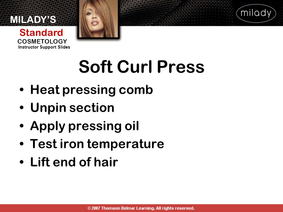 Soft Curl Press Heat pressing comb Unpin section Apply pressing oil