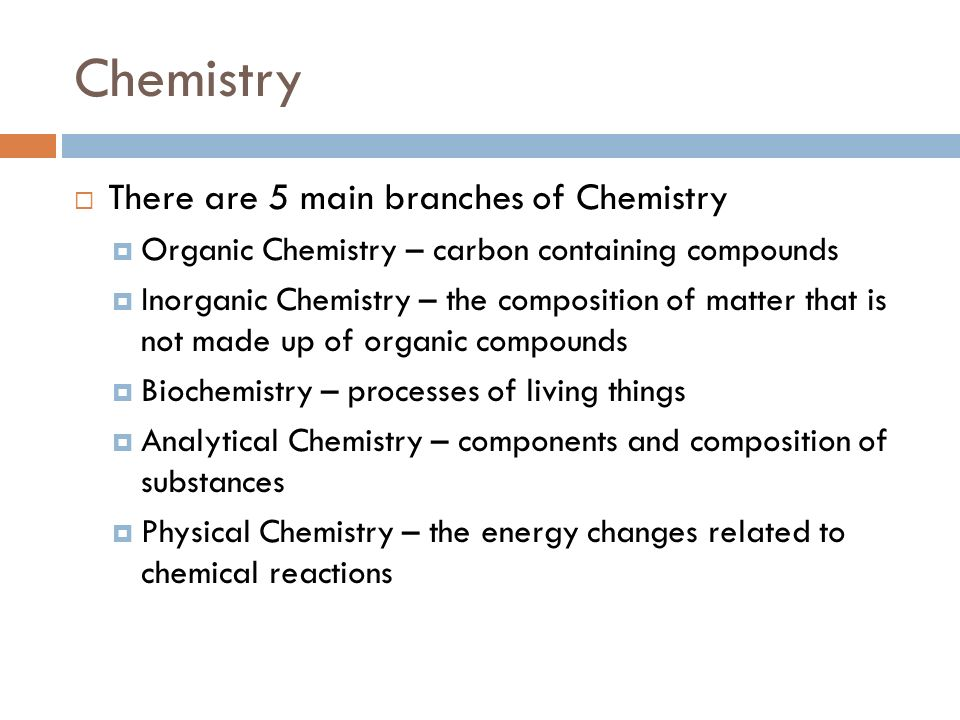 Five Main Branches of Chemistry