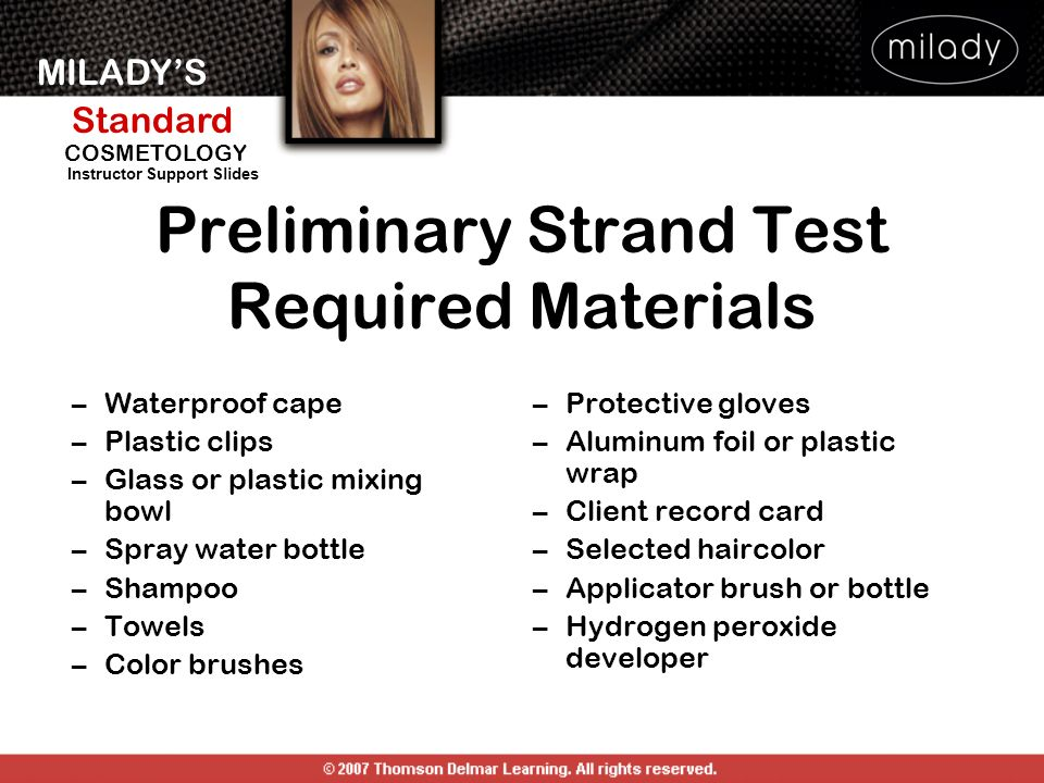Preliminary Strand Test Required Materials
