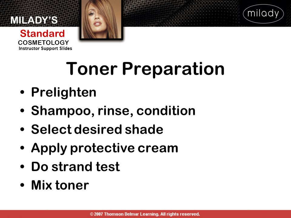 Toner Preparation Prelighten Shampoo, rinse, condition