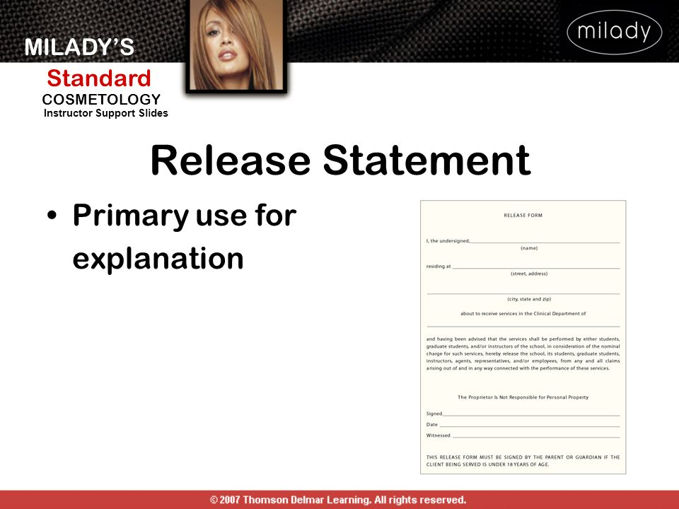 Release Statement Primary use for explanation