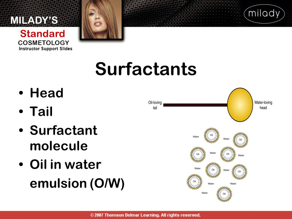 Surfactants Head Tail Surfactant molecule Oil in water emulsion (O/W)