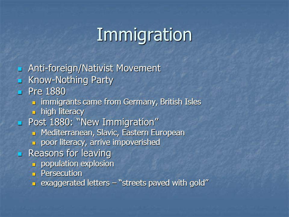 Immigration Anti-foreign/Nativist Movement Know-Nothing Party Pre 1880