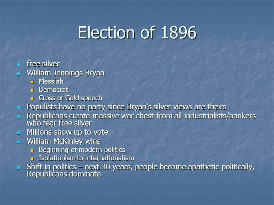 Election of 1896 free silver William Jennings Bryan